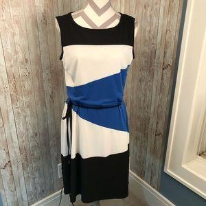 Sandra Darren sz 12 belted colorblock dress